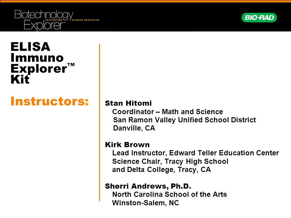 ELISA Immuno Explorer™ Kit Instructors: