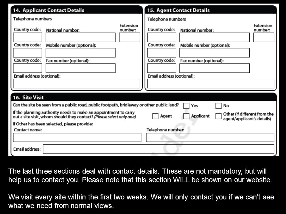The last three sections deal with contact details