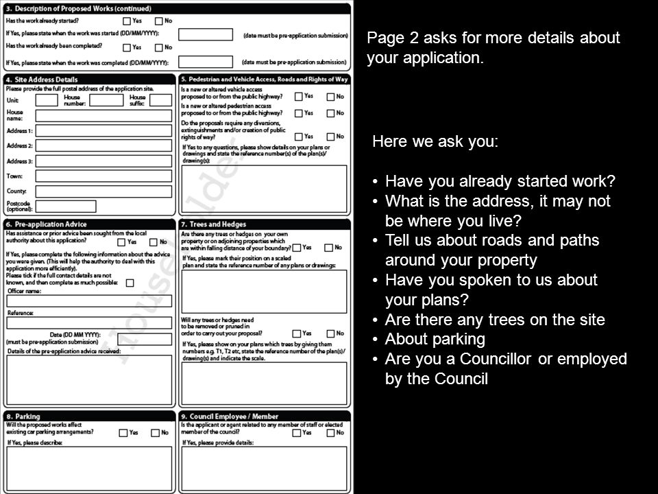 Page 2 asks for more details about your application.