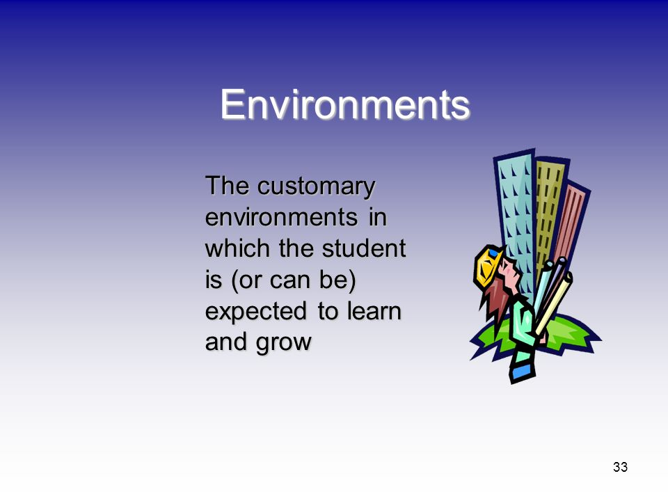 Environments The customary environments in which the student is (or can be) expected to learn and grow.