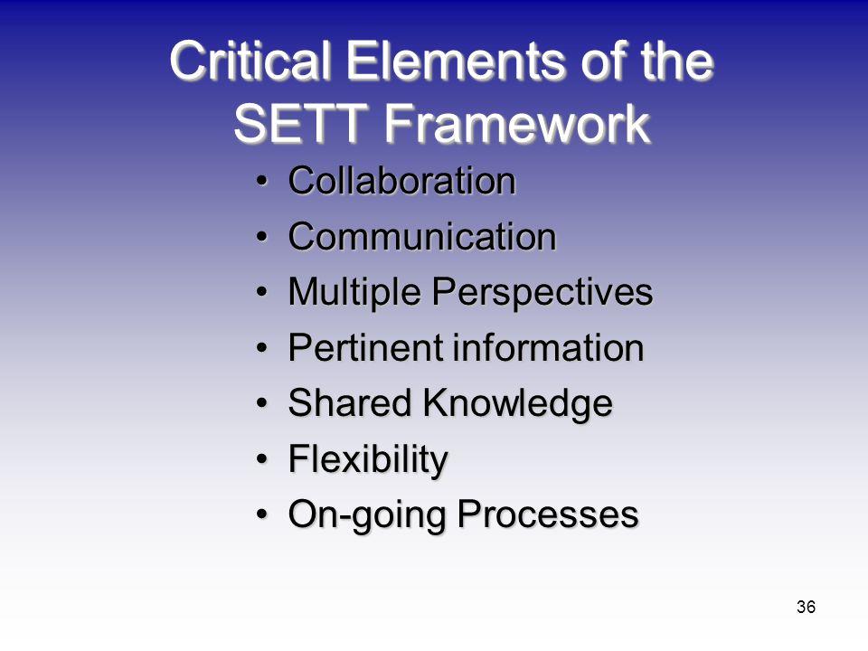 Critical Elements of the SETT Framework