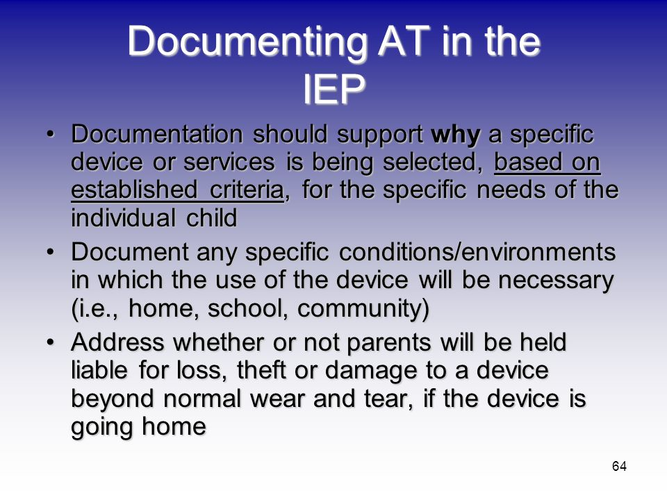 Documenting AT in the IEP