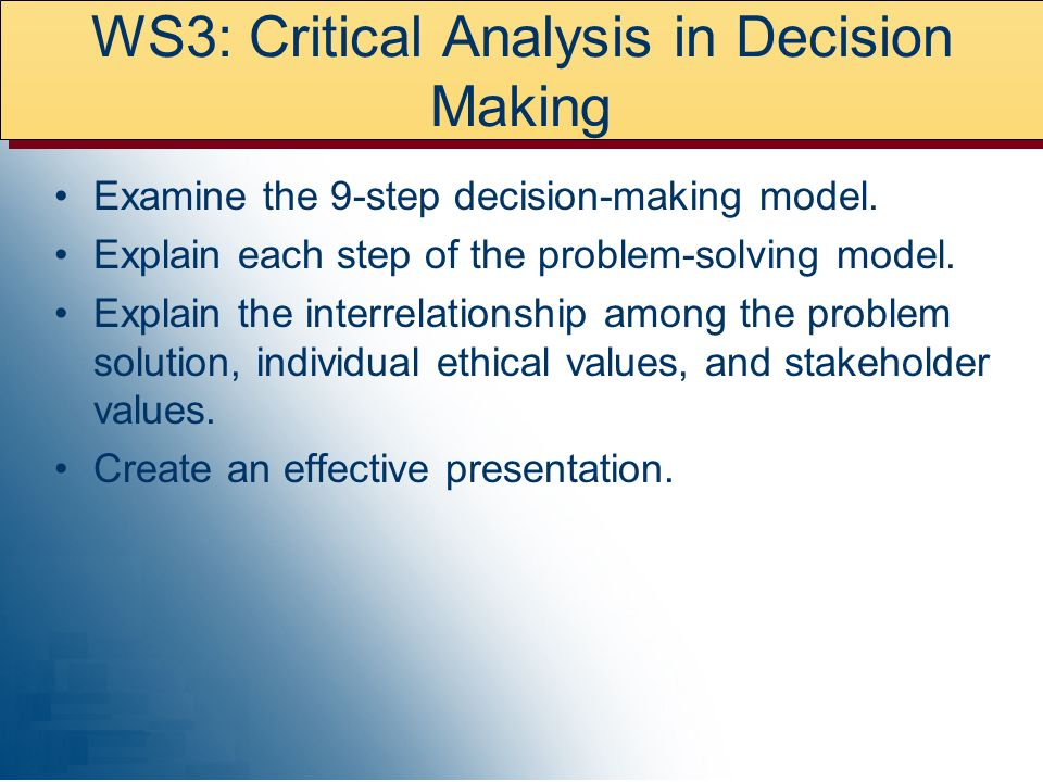 WS3: Critical Analysis in Decision Making