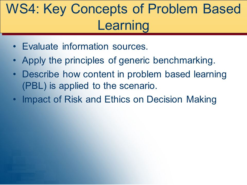 WS4: Key Concepts of Problem Based Learning