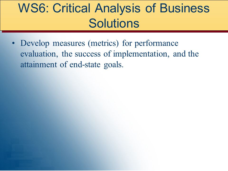 WS6: Critical Analysis of Business Solutions