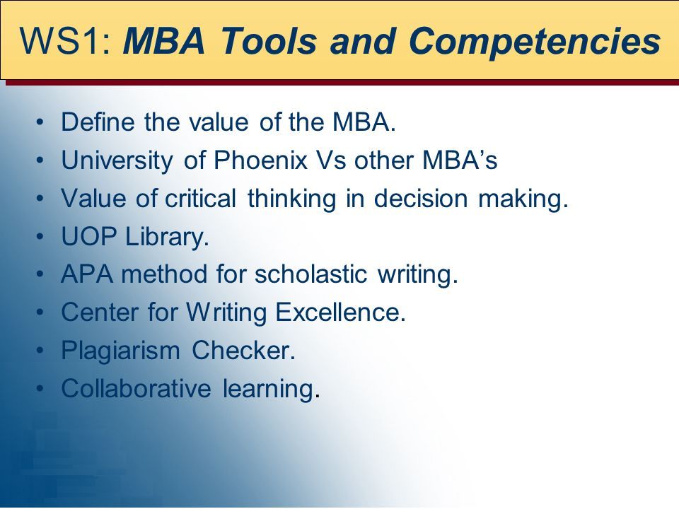 WS1: MBA Tools and Competencies
