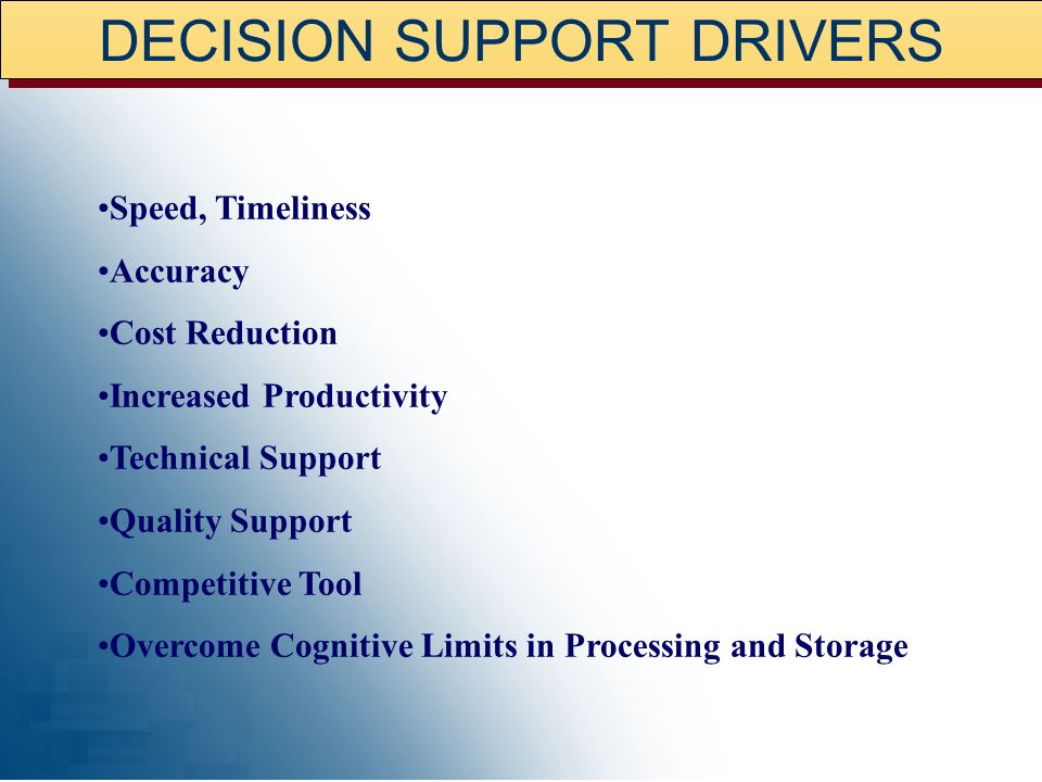 DECISION SUPPORT DRIVERS