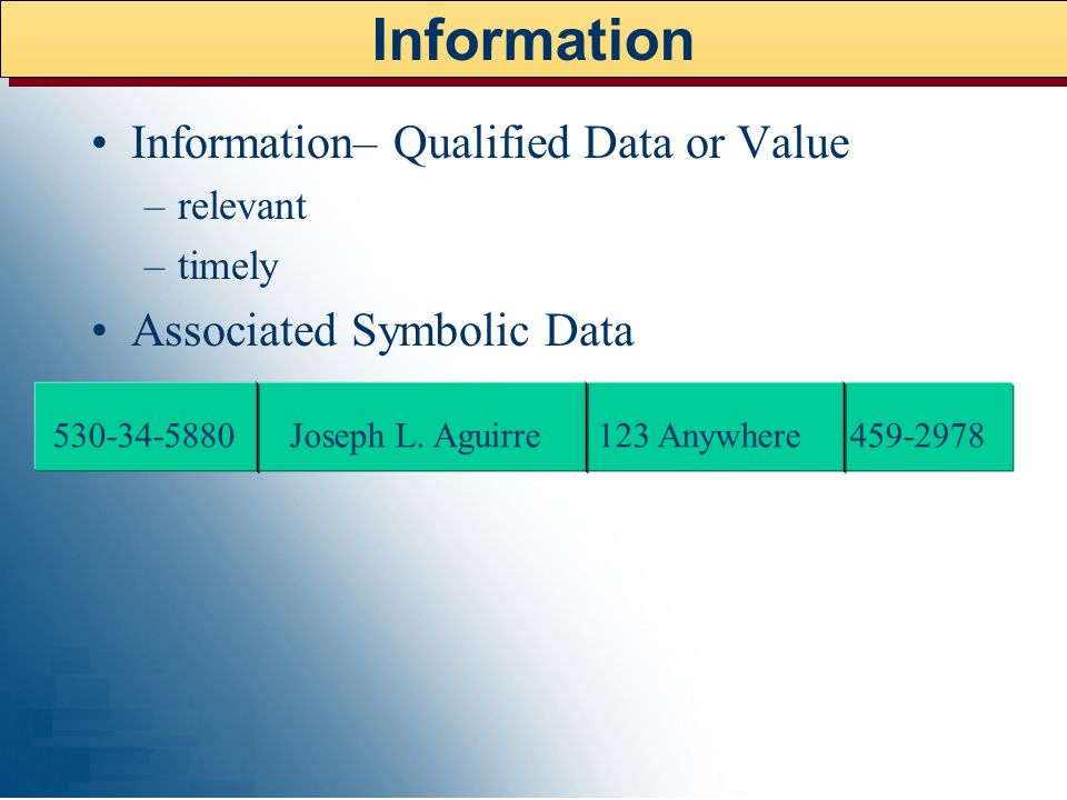 Information Information– Qualified Data or Value