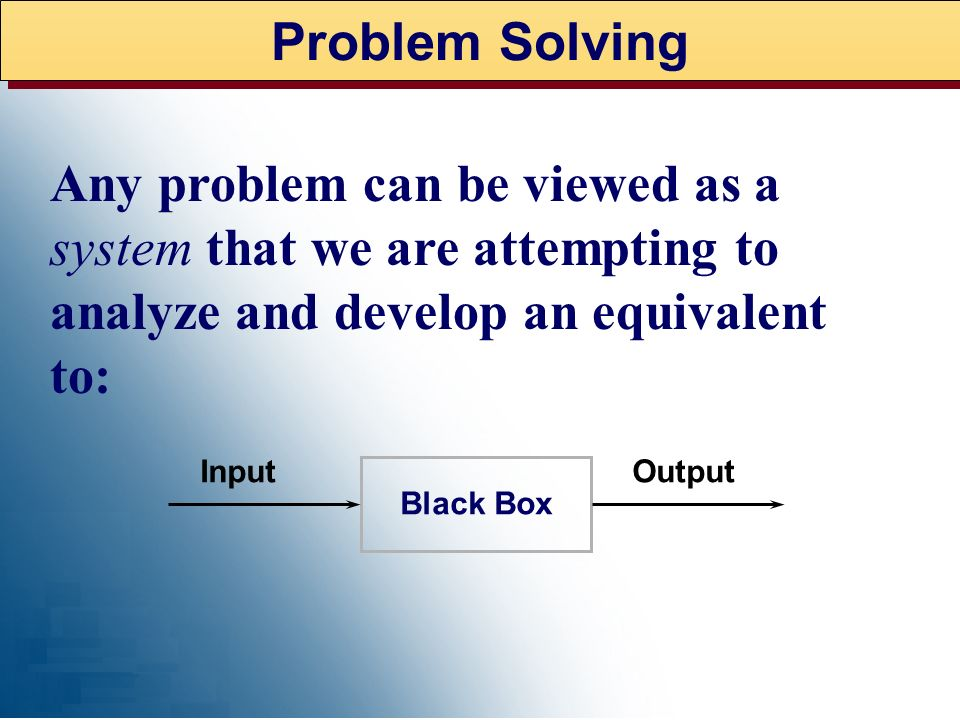 Problem Solving Any problem can be viewed as a system that we are attempting to analyze and develop an equivalent to:
