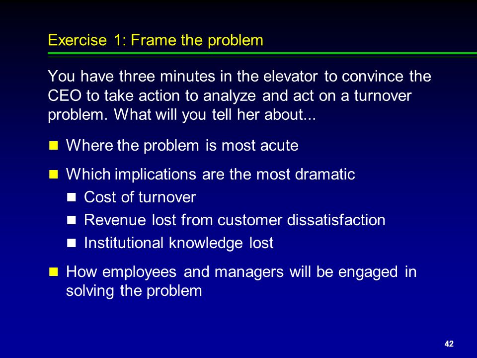 Exercise 1: Frame the problem