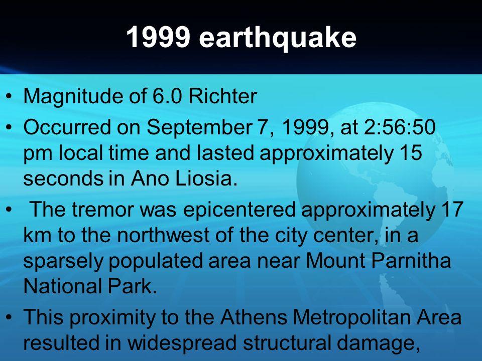 1999 earthquake Magnitude of 6.0 Richter