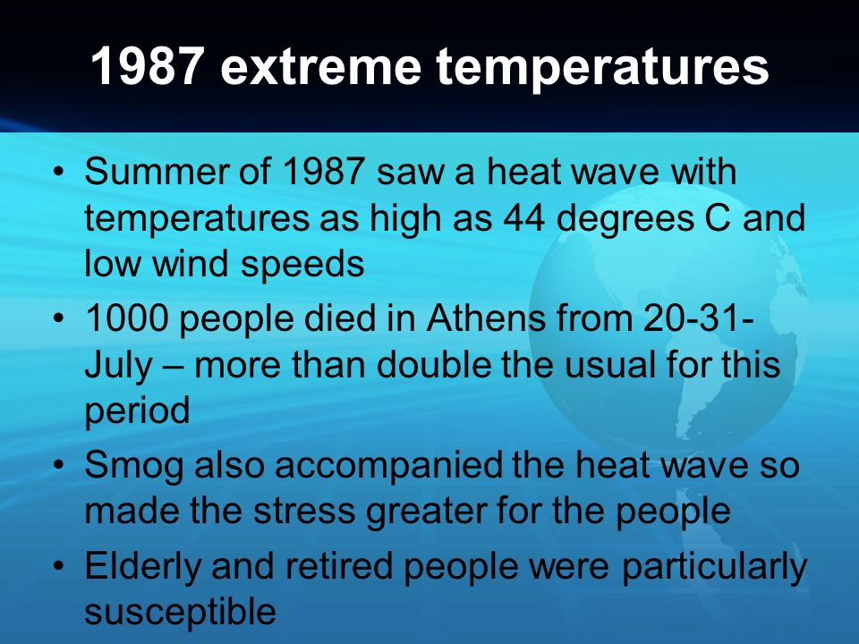 1987 extreme temperatures Summer of 1987 saw a heat wave with temperatures as high as 44 degrees C and low wind speeds.