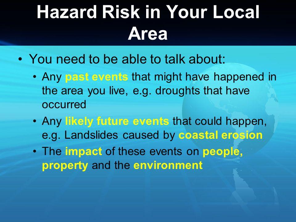 Hazard Risk in Your Local Area