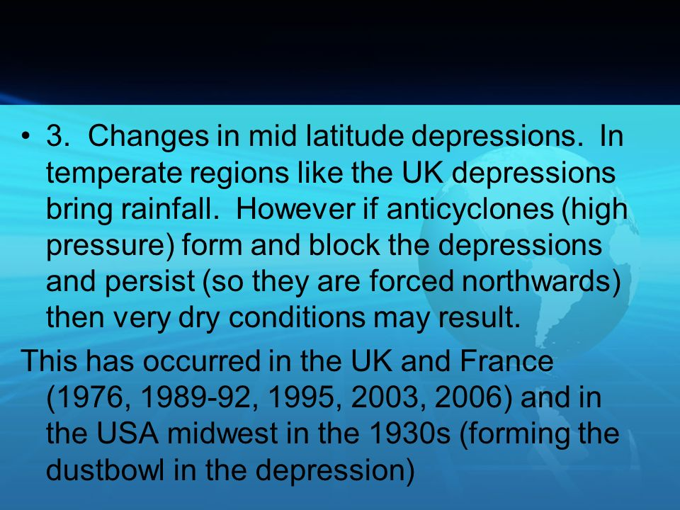 3. Changes in mid latitude depressions