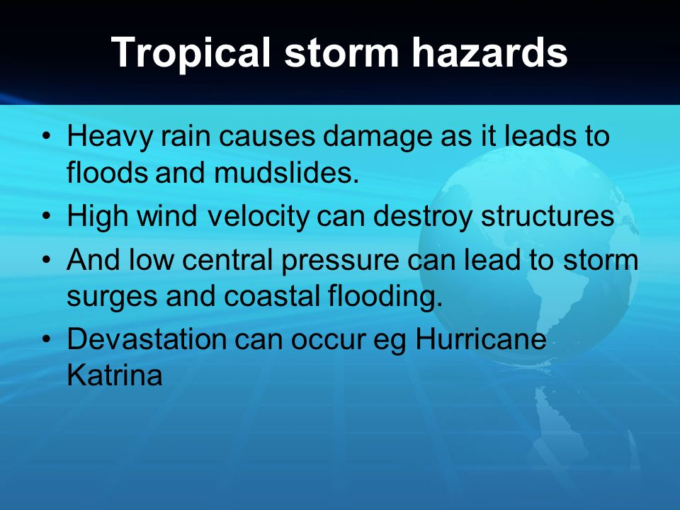 Tropical storm hazards