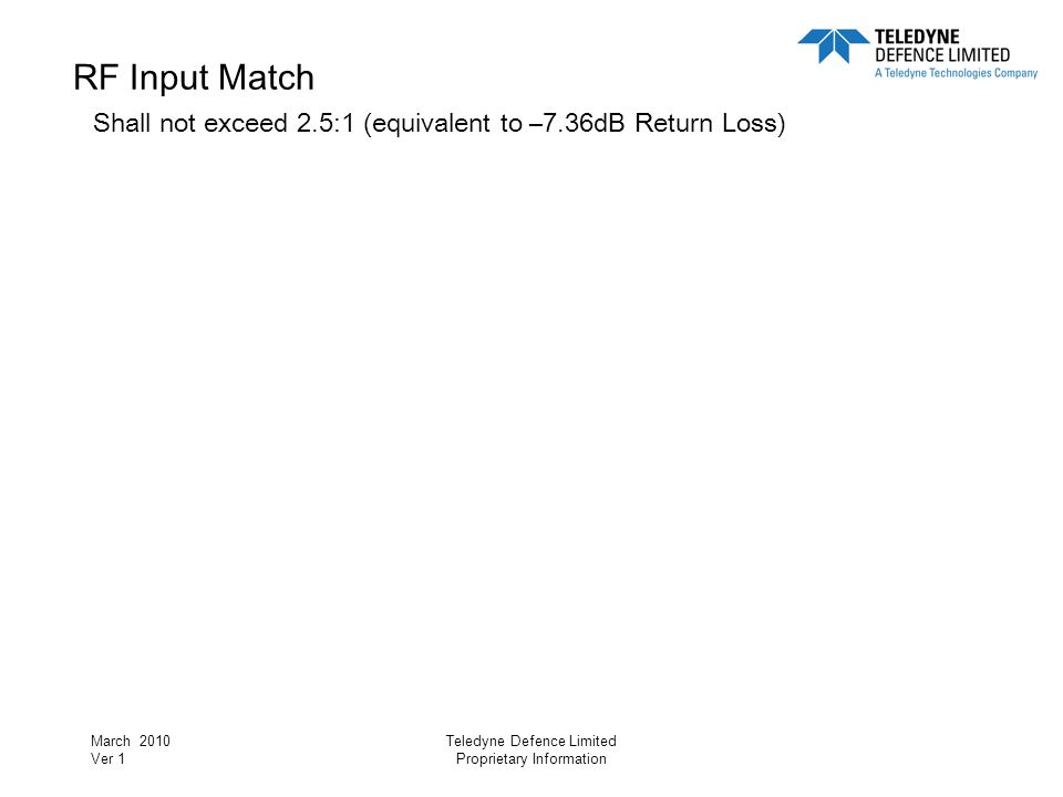 RF Input Match Shall not exceed 2. 5:1 (equivalent to –7