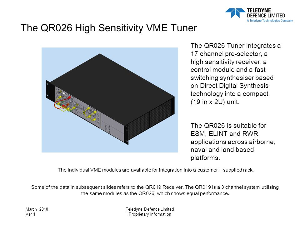 The QR026 High Sensitivity VME Tuner