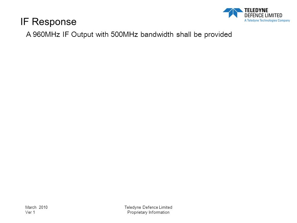 IF Response A 960MHz IF Output with 500MHz bandwidth shall be provided
