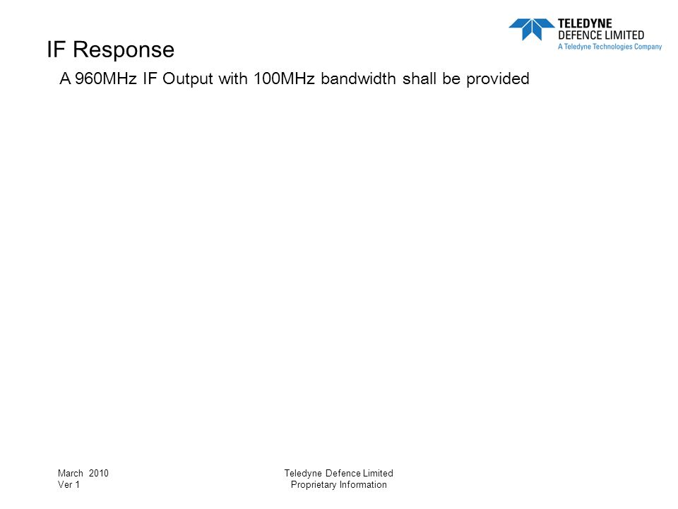 IF Response A 960MHz IF Output with 100MHz bandwidth shall be provided