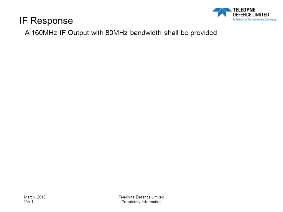 IF Response A 160MHz IF Output with 80MHz bandwidth shall be provided