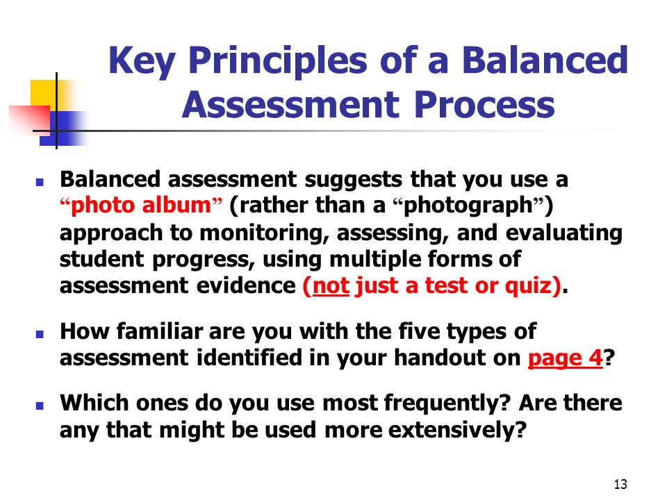 Key Principles of a Balanced Assessment Process