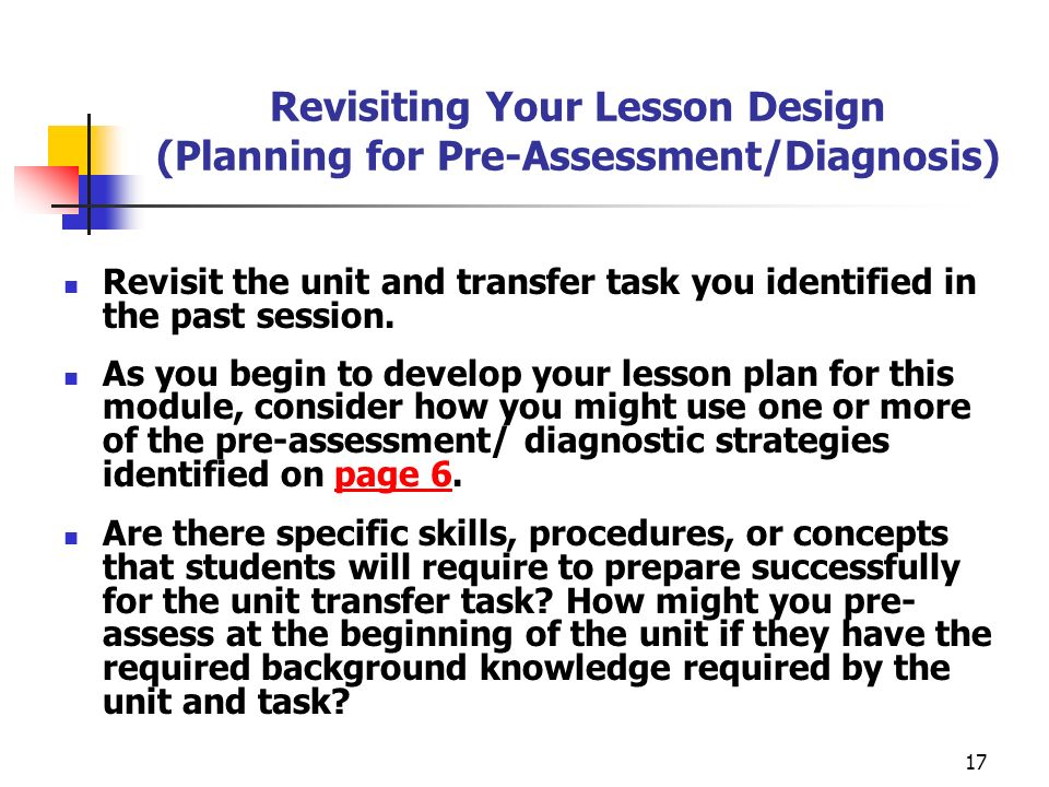 Revisiting Your Lesson Design (Planning for Pre-Assessment/Diagnosis)