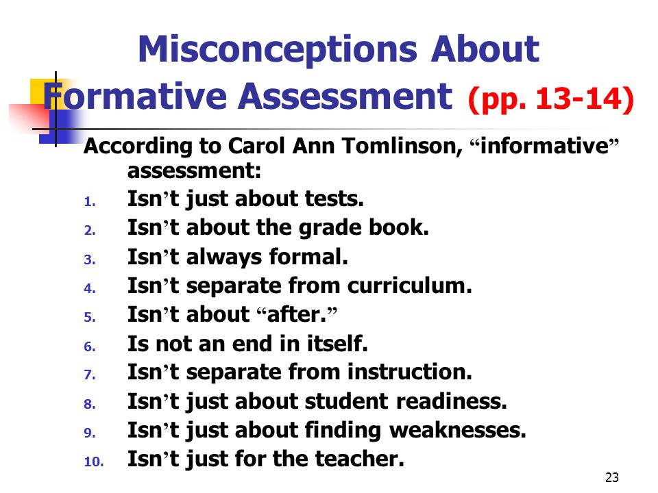 Misconceptions About Formative Assessment (pp. 13-14)