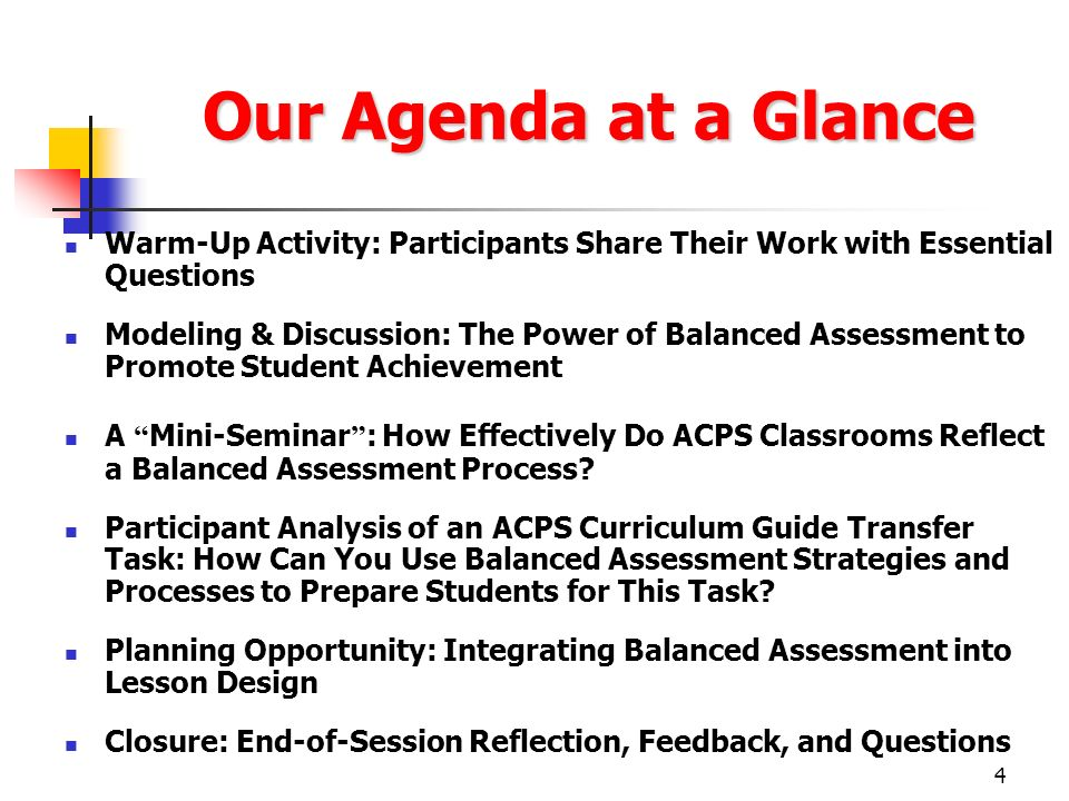 Our Agenda at a Glance Warm-Up Activity: Participants Share Their Work with Essential Questions.