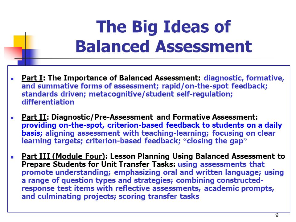The Big Ideas of Balanced Assessment