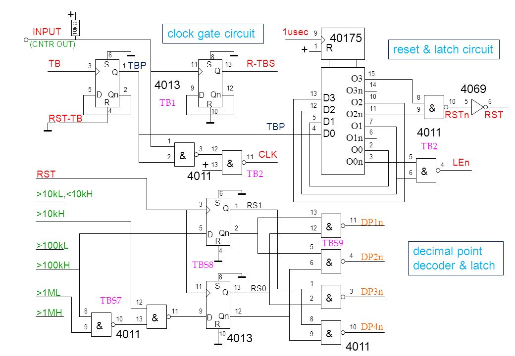 + clock gate circuit 40175 + reset & latch circuit 4013 4069 4011 +