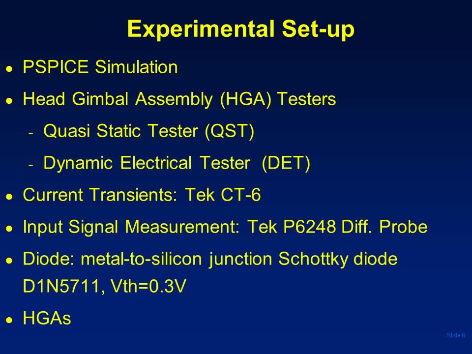 Experimental Set-up PSPICE Simulation