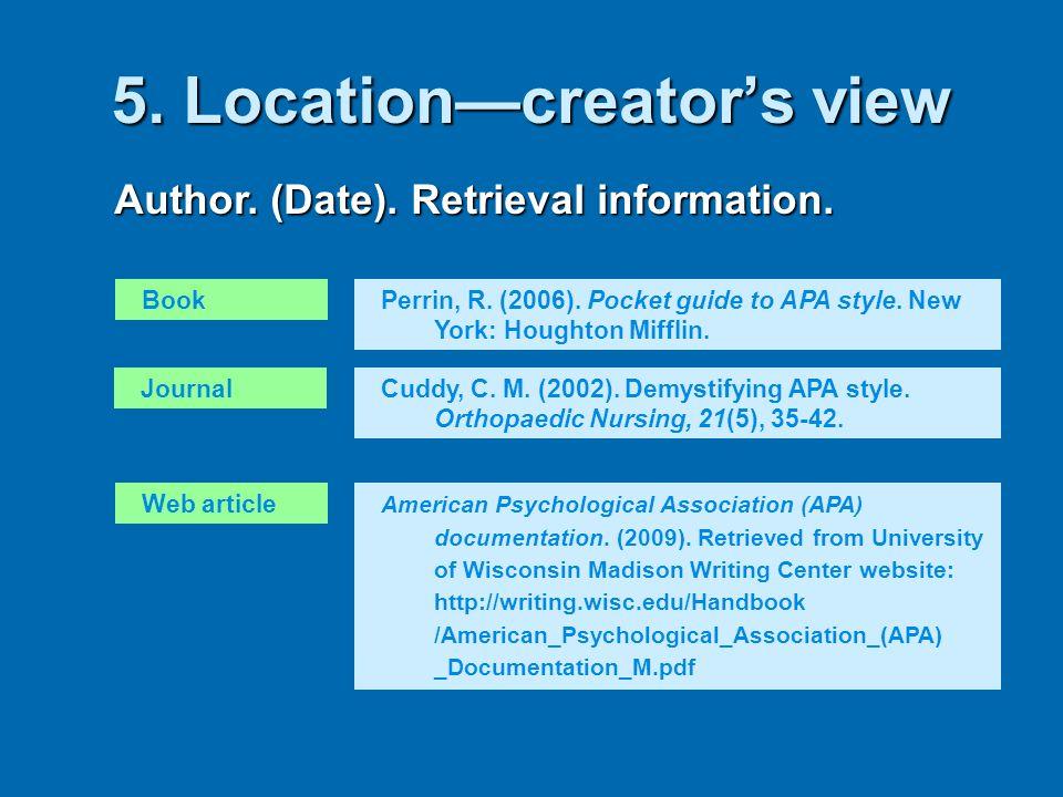 5. Location—creator's view