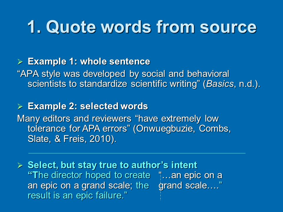 1. Quote words from source