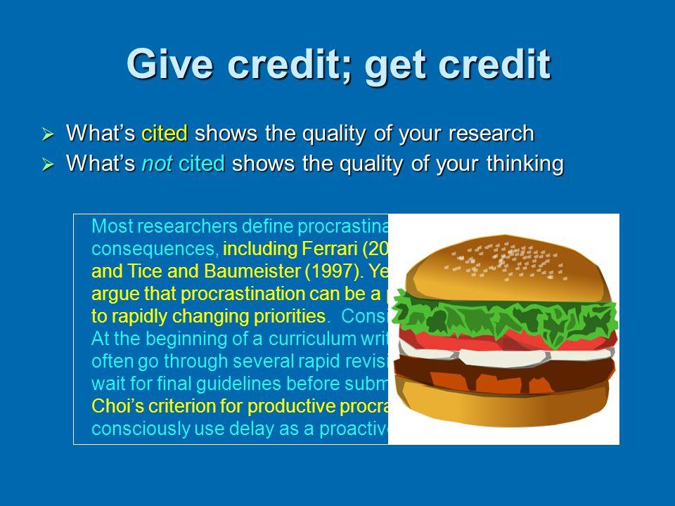 Give credit; get credit
