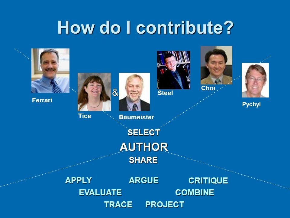 How do I contribute AUTHOR & SELECT SHARE APPLY ARGUE CRITIQUE
