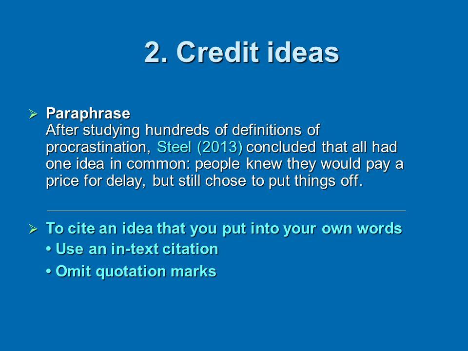 2. Credit ideas