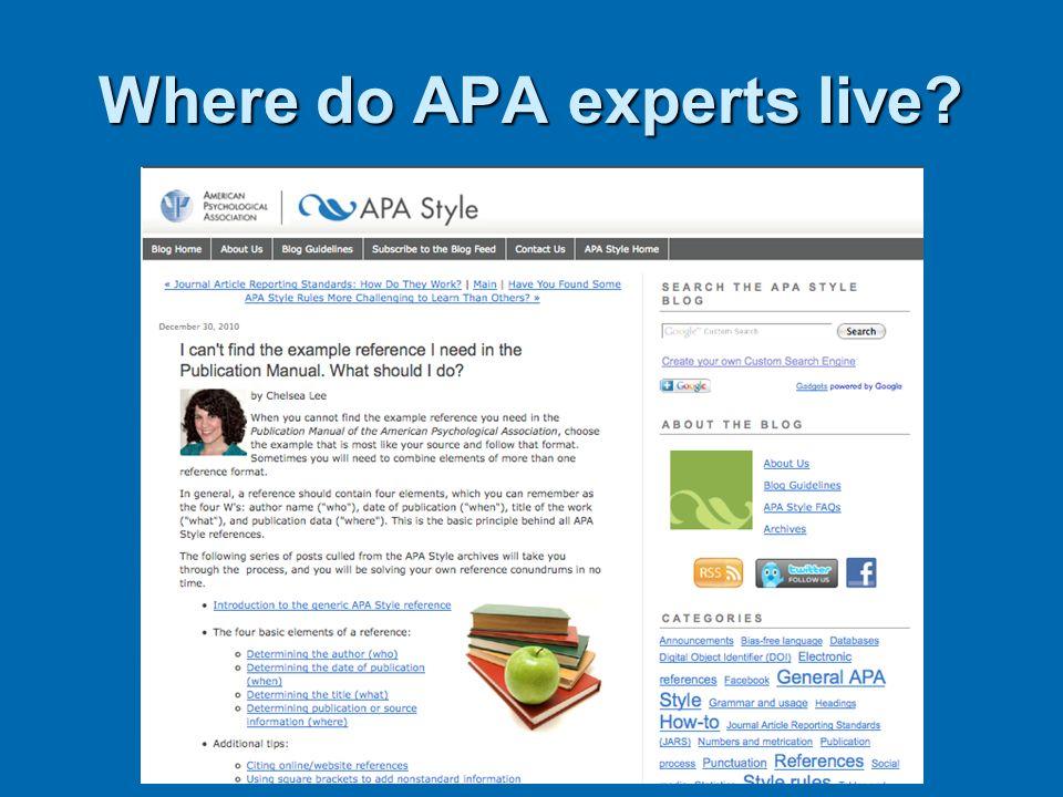 Where do APA experts live