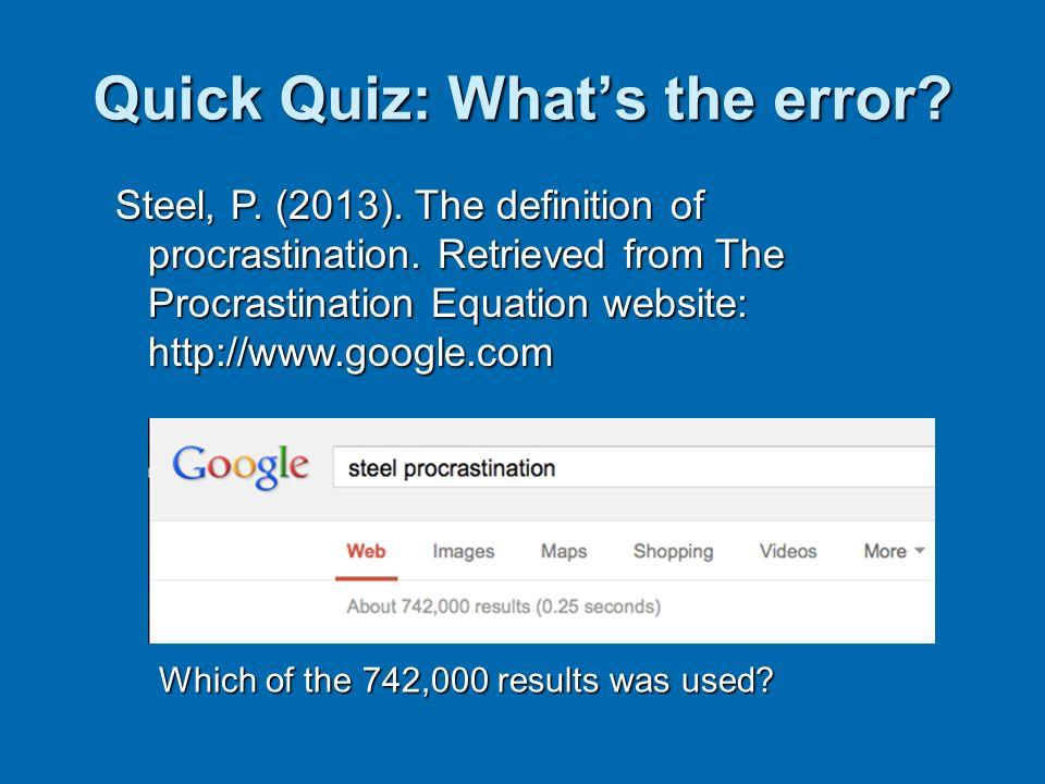 Quick Quiz: What's the error