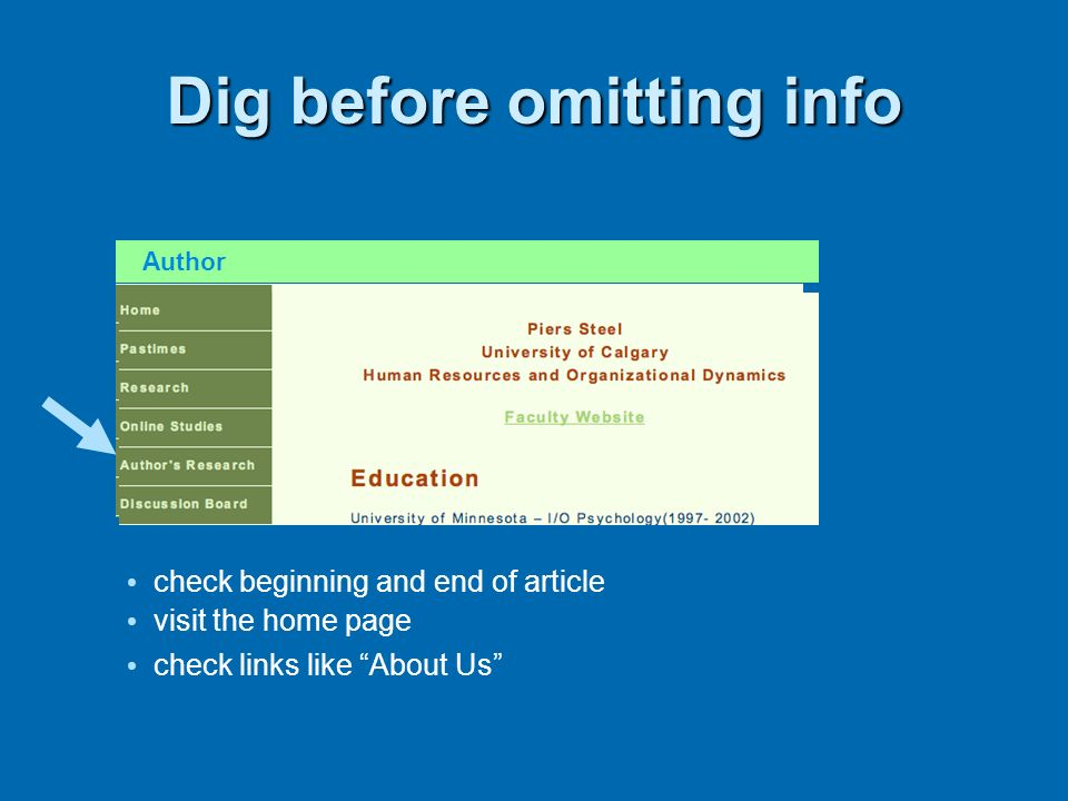 Dig before omitting info