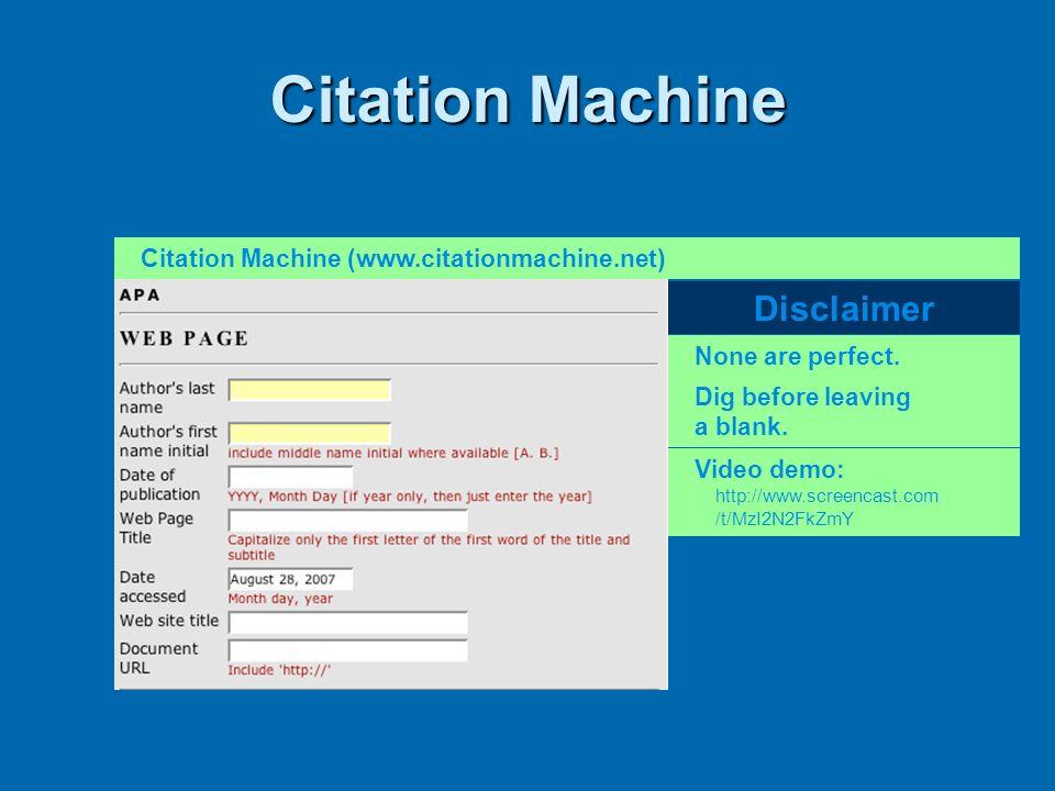 Citation Machine Disclaimer Citation Machine (www.citationmachine.net)