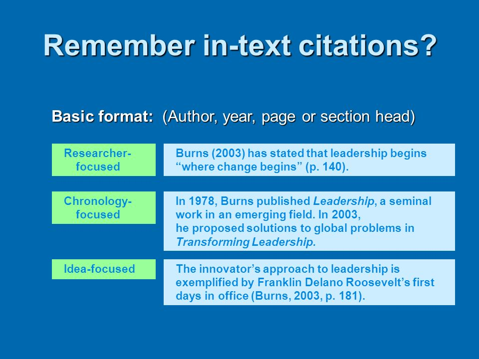 Remember in-text citations