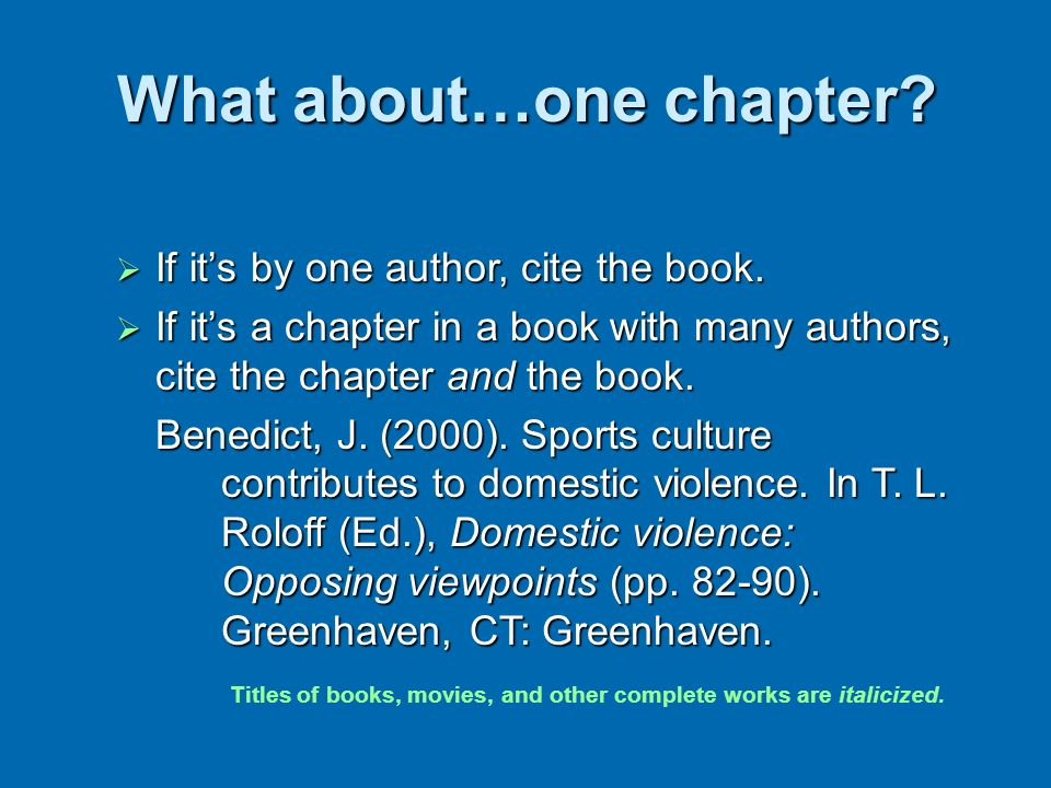 What about…one chapter