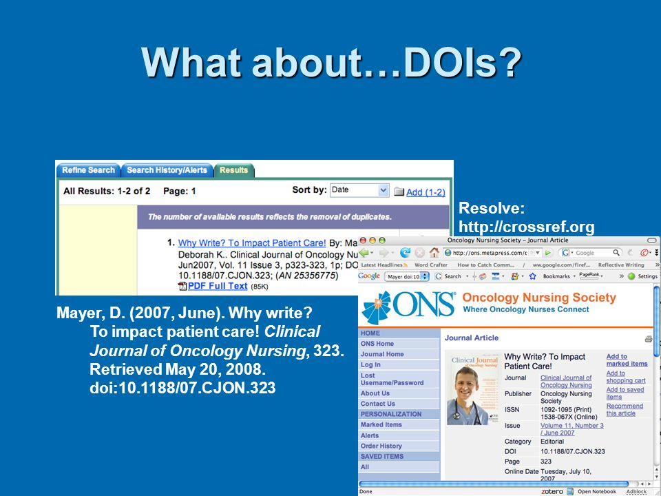 What about…DOIs Resolve: http://crossref.org