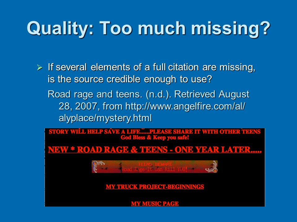 Quality: Too much missing