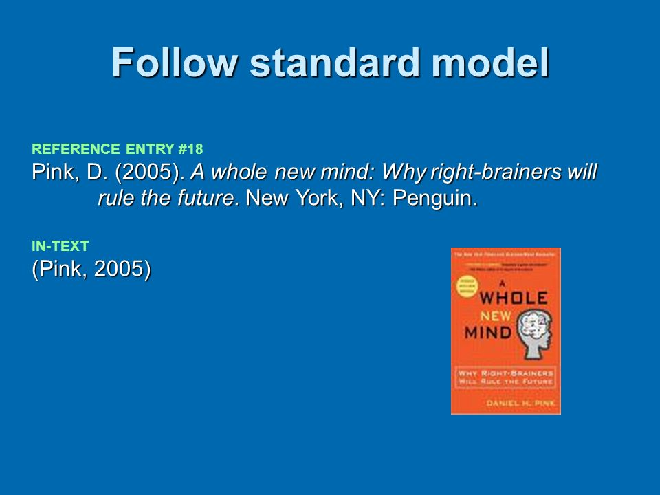 Follow standard model REFERENCE ENTRY #18. Pink, D. (2005). A whole new mind: Why right-brainers will rule the future. New York, NY: Penguin.