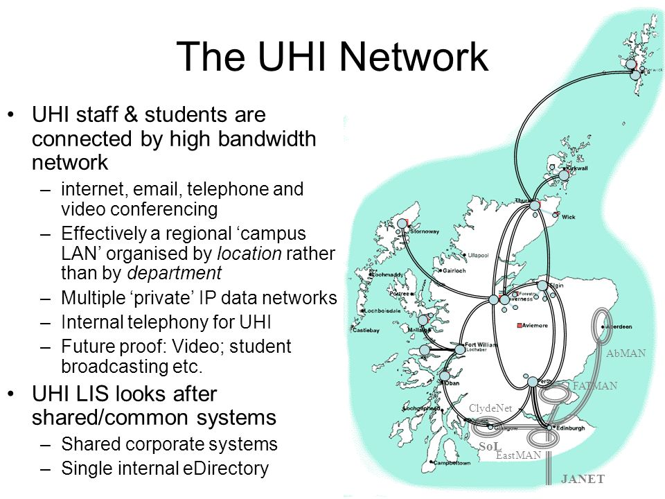 The UHI NetworkIDM @ UHI. 25/03/2017. ClydeNet. SoL. AbMAN. EastMAN. FATMAN. JANET. UHI staff & students are connected by high bandwidth network.