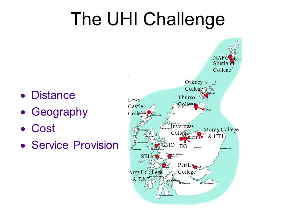 The UHI Challenge Distance Geography Cost Service Provision NAFC