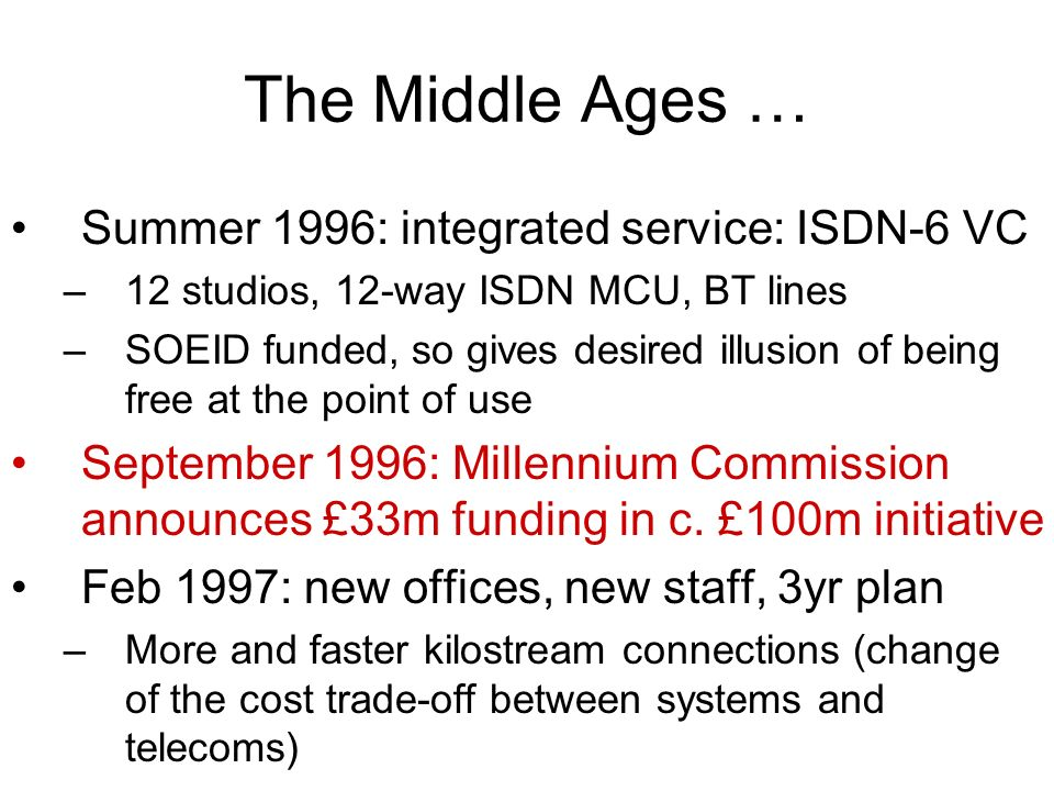 The Middle Ages … Summer 1996: integrated service: ISDN-6 VC