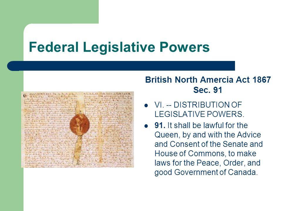 Federal Legislative Powers