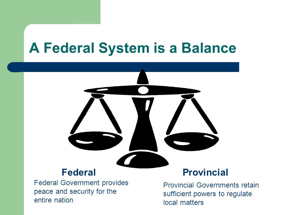 A Federal System is a Balance